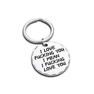 Couple Funny Keychain Gifts for Boyfriend Husband Gift from Girlfriend Wife him her i Love You i Mean i Love You…