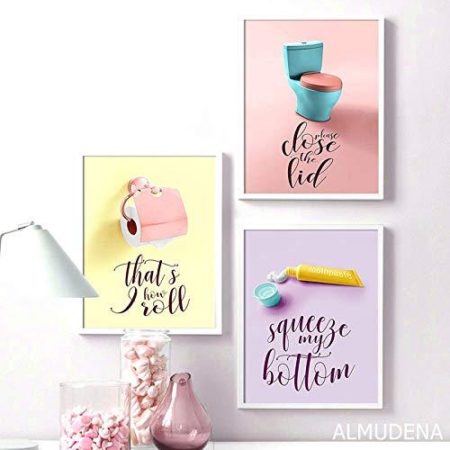 Kleur tandpasta tissue toilet citaat Nordic posters en prints muurschildering canvas schilderij muurschildering badkamer decoratie 40X60cmX3 (geen frame)
