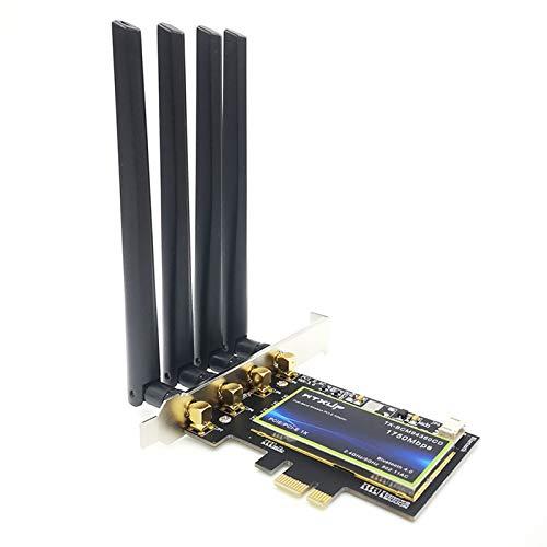 MQUPIN Tarjeta de Red inalámbrica de Doble Banda a 1750 Mbps, Adaptador PCI-E Wi-Fi, Bluetooth 4.0, Compatible con Airdrop y Handoff, Compatible con Windows 7/8/10, Sistemas Mac
