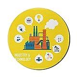 Tapis de souris industriel pour ordinateurs, industrie et technologie, modèle d'usine de lettrage, tapis de souris de jeu moderne en caoutchouc épais antidérapant rond, 8 'rond, moutarde multicolore