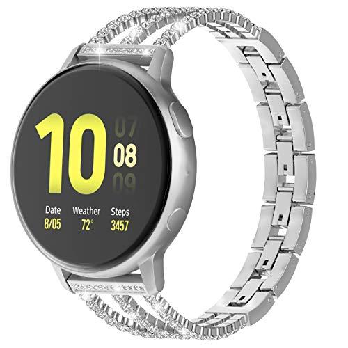 TiMOVO 20mm Universal Uhrenarmband Strass Ketten, Kompatibel mit Galaxy Watch 42mm/Active/Active 2/Gear Sport/Garmin Vivomove/HR/Vivoactive 3, Verstellbares Armband mit Diamanten - Silber