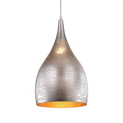 DSYADT Iluminación Colgante Candelabro Vintage Grabado marroquí Luces Colgantes Lámpara de Techo árabe porosa Industrial para Cocina Isla Restaurante Pasillo Vestíbulo (Plata)