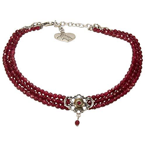 Alpenflüstern Trachten-Perlen-Kropfkette Hedwig - nostalgische Trachtenkette Damen-Trachtenschmuck Dirndlkette rot DHK190