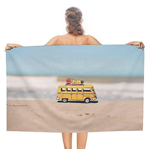 Toalla de Playa Caqui 70x140 cm Autobús De Juguete Amarillo Suaves Compacta Muy Absorbentes Ligera y de Secado Rápido Sin Arena Toalla de Microfibra para la Playa Viajar Nadar Acampar Camping y Picnic