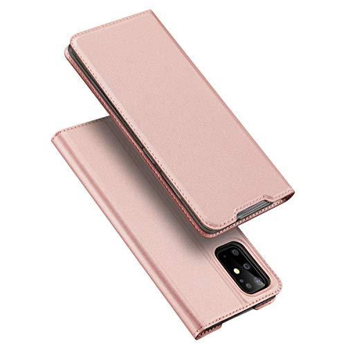 DUX DUCIS Hülle für Samsung Galaxy S20+ Plus, Leder Klappbar Handyhülle Schutzhülle Tasche Hülle mit [Kartenfach] [Standfunktion] [Magnetisch] für Samsung Galaxy S20+ Plus (Rose Golden)
