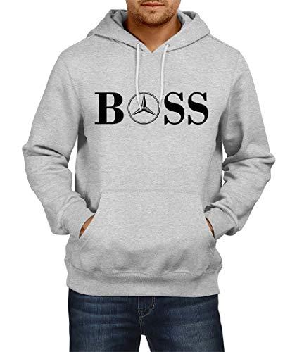 Sweats à Capuche Mercedes Boss Logo Hoodie Homme Men Car Auto Tee Black Grey Noir Gris Long Sleeves Manches Longues Present Christmas (L, Grey)