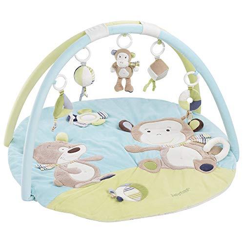 Fehn 081664 3-D-Activity-Decke Affe / Spielbogen mit 5 abnehmbaren Spielzeugen für Babys Spiel & Spaß von Geburt an / Maße:  Ø85cm