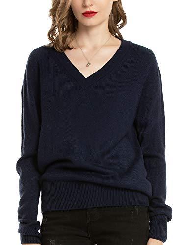 Woolen Bloom Strickpullover V Ausschnitt Damen Strickpulli Langarm Sweater Sweatshirt Pullover Pulli Feinstrick Elegant Oberteil, Königsblau, S