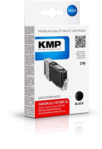 KMP Druckerpatrone für CLI-551BK XL Schwarz - Kompatibel - Tintenpatrone für Canon Pixma IP7250/MG6350/MG7150 - Office Druckerzubehör