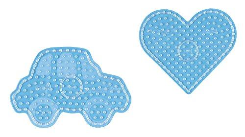 Hama - 8253 - Loisirs Créatifs - Sachet 2 Plaques pour Perles à Repasser Maxi - Cœur et Voiture