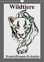 Wildtiere Bunstiftkunst-Kalender (Wandkalender 2022 DIN A4 hoch): Wildtiere in eleganter Buntstiftausfuehrung! (Monatskalender, 14 Seiten )