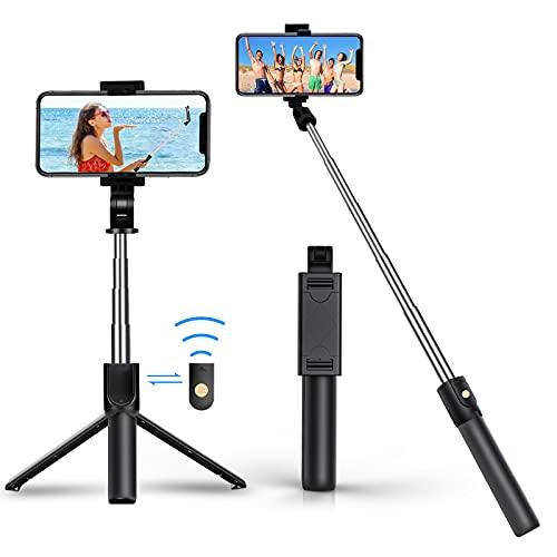 Selfie Stick con scatto Bluetooth, girevole a 360°, mini espandibile, in alluminio, compatibile con iPhone 12 Pro Max, 12 Mini, 11 Pro Max, Samsung S20 Plus, Note 10, ecc