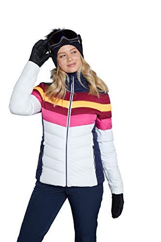Mountain Warehouse Avalanche gepolsterte Damen-Skijacke - schneesicher, Winterjacke mit abnehmbarem Schneefang, verstellbare Kapuze und Saum - ideal zum Snowboarden Weiß 34