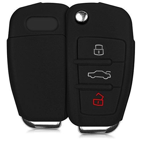 kwmobile Autoschlüssel Silikon Hülle kompatibel mit Audi 3-Tasten Klappschlüssel - Schlüsselhülle in Schwarz