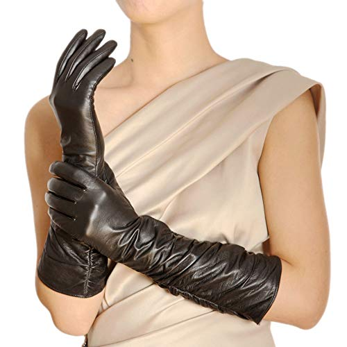 Warmen Winter Fleece Lined Ruched Elbow Length Long Evening Dress Leather Gloves (8, Black (Touchscreen Function))