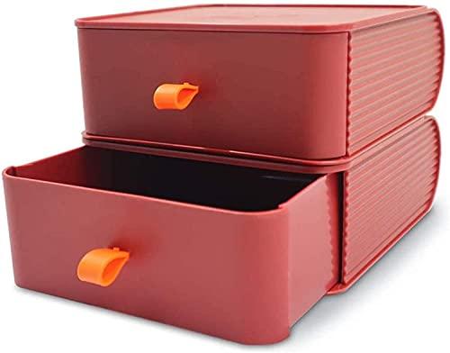 Recet Caja de almacenamiento de cosméticos, organizador de escritorio apilable con cajones, organizador de maquillaje, cajones de almacenamiento para joyas, 2 cajones, color rojo vino