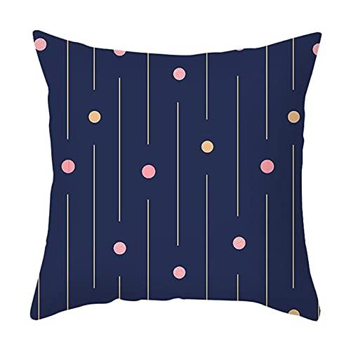 Banemi Fundas de Cojin Sofa, Patrón de Líneas Redondas Poliéster Azul Oscuro para Sala de Estar Sillón Sofá 45X45cm