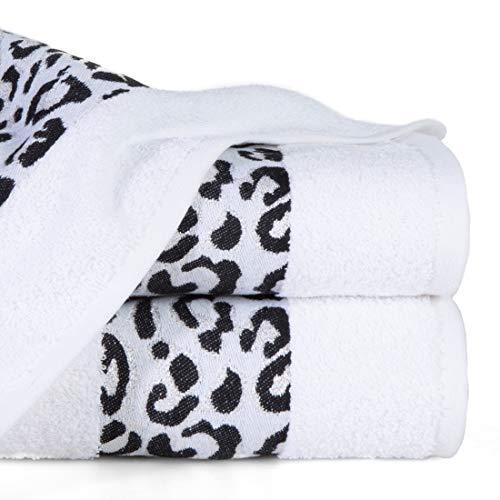 Eurofirany - Juego de 3 Toallas de Mano de algodón Suave, 70 x 140 cm, diseño de Leopardo con Costuras metálicas Brillantes, Color Blanco