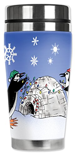 Mugzie ® MAX; 20 oz Thermobecher Edelstahl mit isolierten Neoprenanzug Igloo Schutzhülle, Motiv Pinguin