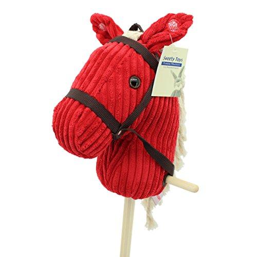 """Sweety-Toys 6755 """" RED Sugar """" CORD COTTON Steckenpferd mit Funktion Gewieher und Galoppgeräusch"""
