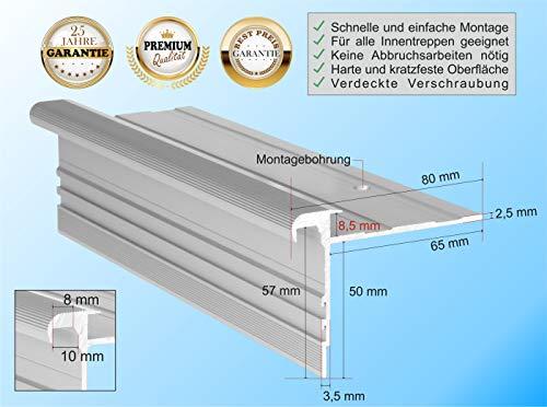 RenoProfil 110 cm Treppenprofil STANDARD 8,5 für Laminat und Vinyl - Treppenkantenprofil für Treppenverkleidung und Treppenrenovierung - Farbe: Silber-Natur