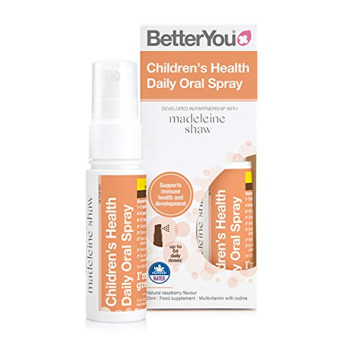 BetterYou Children's Health Daily Oral Spray | Developed in Partnership with Madeleine Shaw | 25ml | Natural Raspberry Flavour | Multivitamin and Mineral | 64 Daily doses