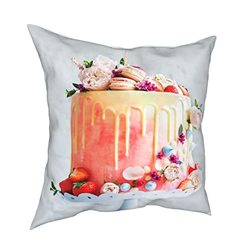 Throw Pillow Funda Fundas de Almohada 45x45CM Pastel de Bodas con Flores Macarons y arándanos decoración para la decoración del hogar Oficina Sofá Holiday Bar Café Boda Coche