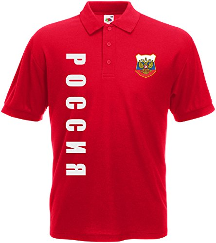 AkyTEX Russland Russia EM-2020 Polo-Shirt Wunschname Wunschnummer Rot S