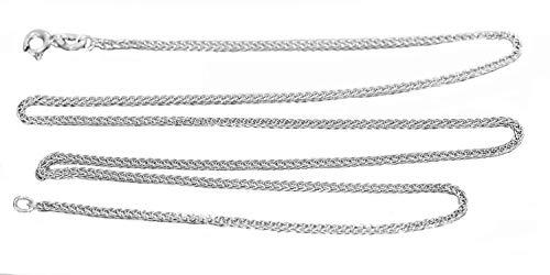 Hobra-Gold - Collana a treccia in oro bianco 585, lunghezza 45 cm, catena da donna