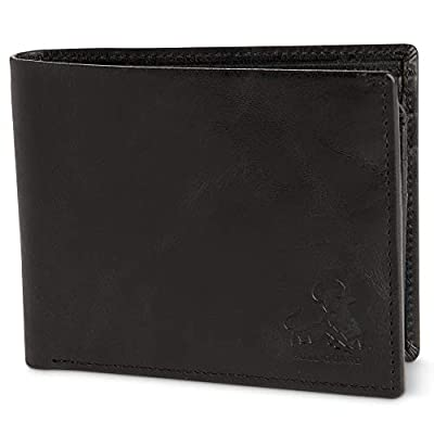 Vintage Black Leather Wallet for Men RFID Blocking Bifold With ID