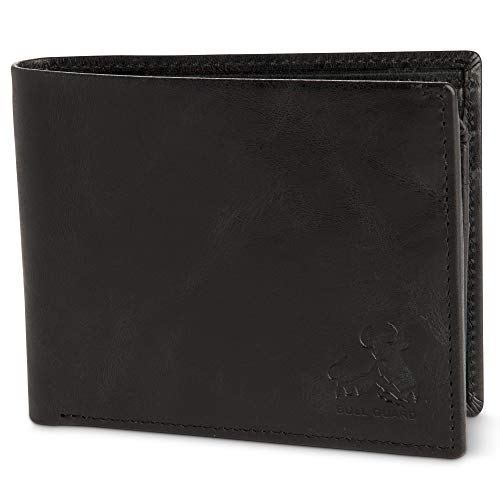 Bull Guard Vintage Black Leather Wallet for Men RFID Bifold With ID