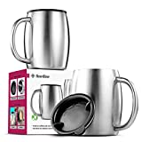 Insulated Stainless-Steel Coffee Mug with Lid and Handle (2 Pk) 14 oz.- BPA-Free Spillproof Lid, Double Wall Camping Travel Coffee Mugs Tough & Shatterproof, Keeps Coffee/Tea Hot And Beer Cold Longer