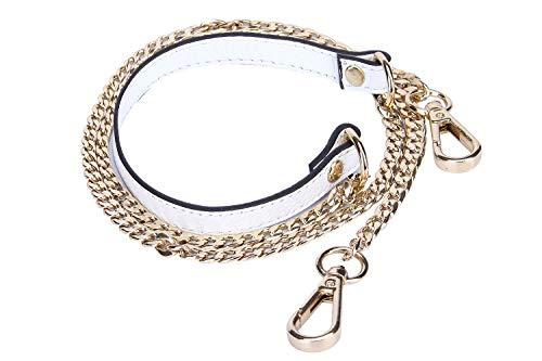 VanEnjoy 12 mm Ersatzkette & Echtleder-Schultergurte für Handtaschen, Geldbörsen, Taschen (weiß)