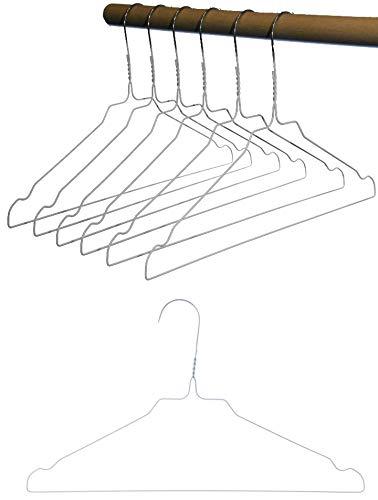 Hagspiel Kleiderbügel aus Metall, Drahtbügel aus hochwertiger Zinkbeschichtung, weiße Pulverbeschichtung mit Steg und Rockkerben (20 STK.) Made in Austria