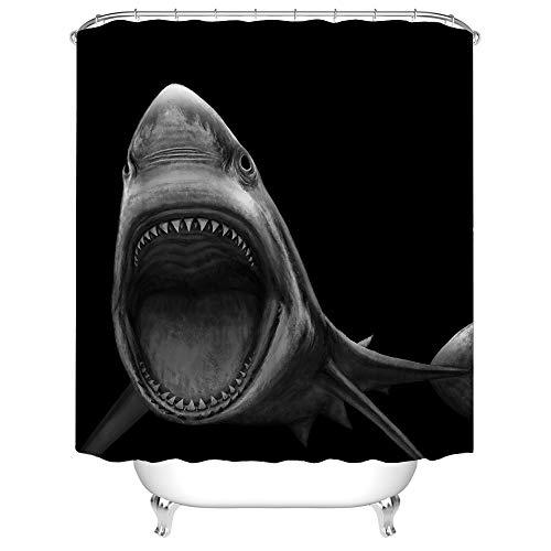 Schwarz-weiße Duschvorhänge Big Shark Open Mouth in Dark Badezimmer Vorhang Meer Tier Wasserdicht Polyester Stoff mit Haken für Badezimmer Dekoration 182,9 x 182,9 cm