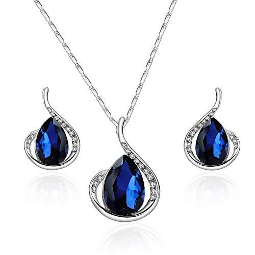 Pendientes De Collar Conjuntos Joyas,Vintage Elegante Para Mujeres Niñas Plata Brillante Diamante Completo Azul Marino Gota De Lluvia Colgante A Juego Novia Hermosa Conjunto Clásico Regalo Par