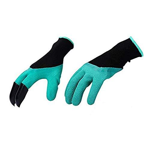 Amacoam Garten Werkzeug Handschuhe,Wasserdicht Gartenhandschuhe mit klauen Anti-Krawatte Verschleißfest Gartenarbeit Handschuhe mit ABS-Kunststoff Krallen für Graben & Pflanzen 1 Pairs