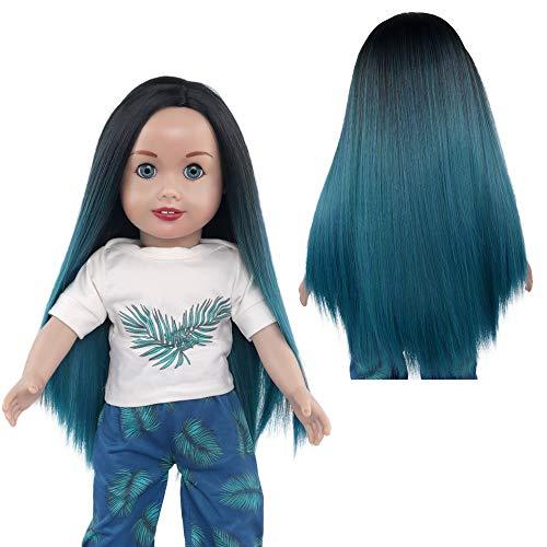 MUZIWIG Doll Hair Wigs for 18'' American Dolls, Girls Gift Blue Black Long Straight Wig for 18'' Dolls (02)