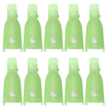EgBert 10Pcs UV Gel Polish Remover Clips Caps Nail Cleaner Outils De Manucure - Vert