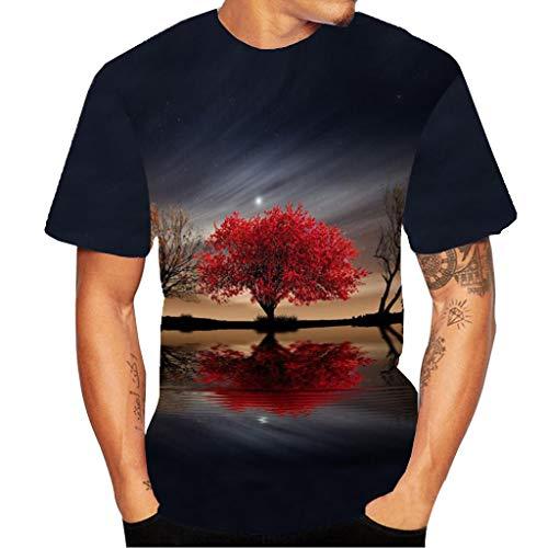 MAYOGO 3D Druck Tshirt Herren Bunt 3D Print Bunt Sternenhimmel Blumen Kurzarm T-Shirts Oberteile Frühling Sommer Männer Lässige Mode Round Hals Hemden Tops