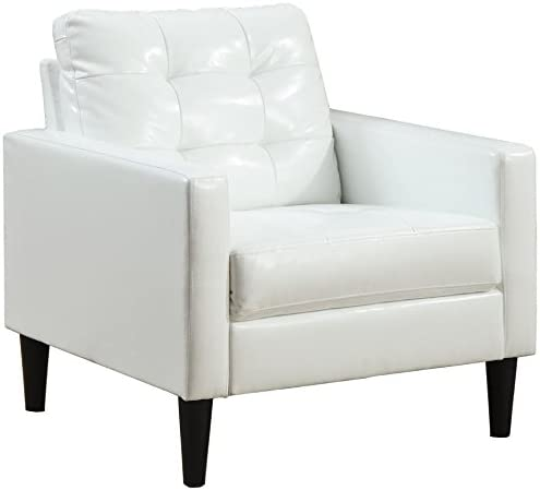 Best ACME Balin White Faux Leather Accent Chair