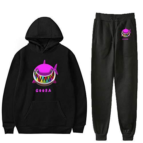 WAWNI 6ix9ine Hoodie Set Fashion Hip Hop Hoodie und Hose Streetwear Rapper Oversize Trainingsanzug Gr. S, Schwarz