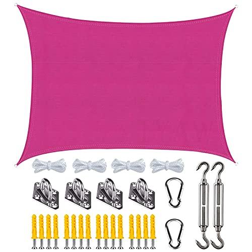 MIKUAP Vela de Toldo Rectangular Anti-UV para Exteriores, con Kit Fijo, Resistente Al Desgaste, Impermeable para Fiestas En El Jardín, Patio - Rosa Rojo - 2X3M(6.5X9.8Ft)