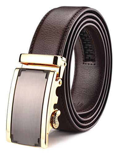 Xhtang Men's Ratchet Brown Belt Automatic Buckle Leather 35mm Wide M