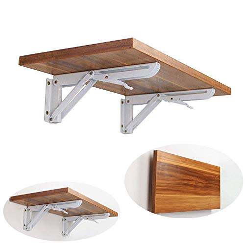2 Soportes plegables triangulares de metal blanco para estanterías, bancos o mesas de pared. Brazo de liberación corta # 81223