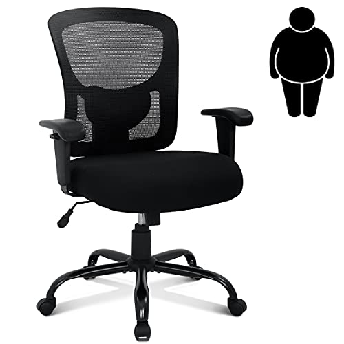 Big & Tall Office Chair Heavy Duty 400LBS Computer Desk Chair with Lumbar Support Ergonomic High Back Task Rolling Swivel Mesh Chair Wide Seat Adjustable Armrest Modern Executive Chair,Black