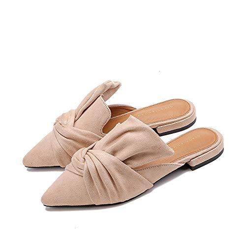 N/A Zapatos para Mujer, Pantuflas Planas con Punta de otoño, Pantuflas Exteriores sin tacón para Mujer, Chanclas Personalizadas-Apricot_40