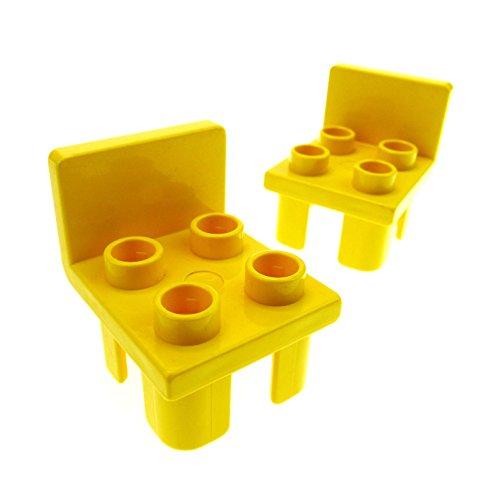 2 x Lego Duplo Stuhl gelb 4 Noppe Sitz Stühle Küche Wohnzimmer Schlafzimmer Puppenhaus Möbel 6478