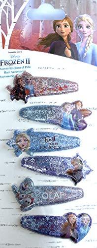 Disney Frozen, Eiskönigin - Haarclips, Haarspangen 6 Stück glitzernd mit verschiedenen Motiven Elsa, Olaf, Anna passend für Mädchen