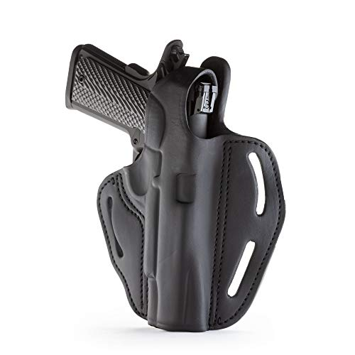 """1791 GUNLEATHER 1911 Holster - Thumb Break Leather Holster - Cocked and Locked Carry - Right Hand OWB Holster for Belts - Fit 4"""" and 5"""" Barrels Stealth Black"""